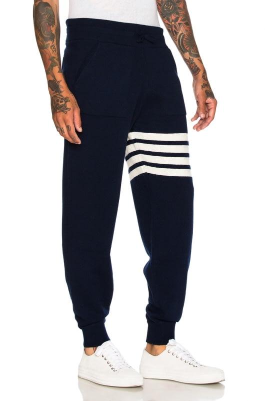 Thom Browne Cashmere 4 Bar Stripe Sweatpants