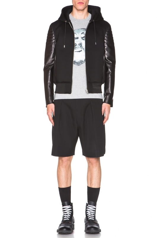 Givenchy Leather & Neoprene Hoodie