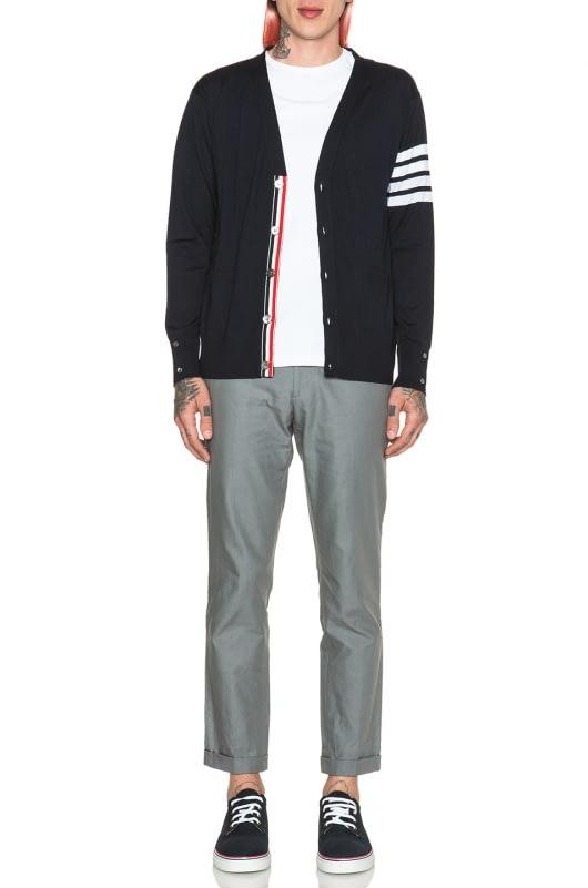 Thom Browne Wool Cardigan with Bar Stripe Sleeve