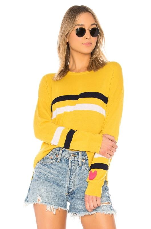 SUNDRY Stripes + Heart Cashmere Blend Crew Neck