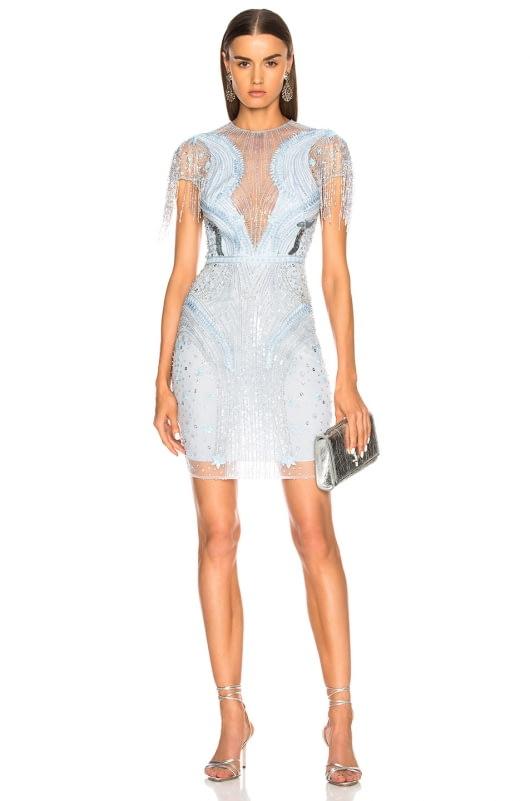 Zuhair Murad Embellished Short Sleeve Mini Dress