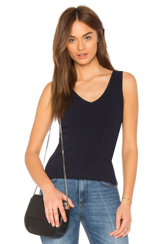 Autumn Cashmere Rib Lace Back Tank