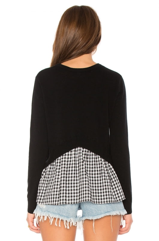 Autumn Cashmere Gingham Ruffle Back Sweater