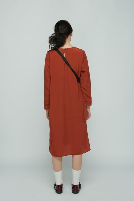 Shopatvelvet Rust Petal Dress