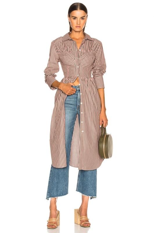 ALEXACHUNG Seamed Shirt Dress