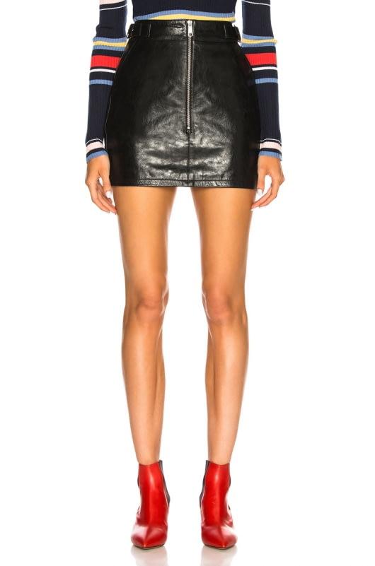 FRAME Leather Buckle Back Skirt