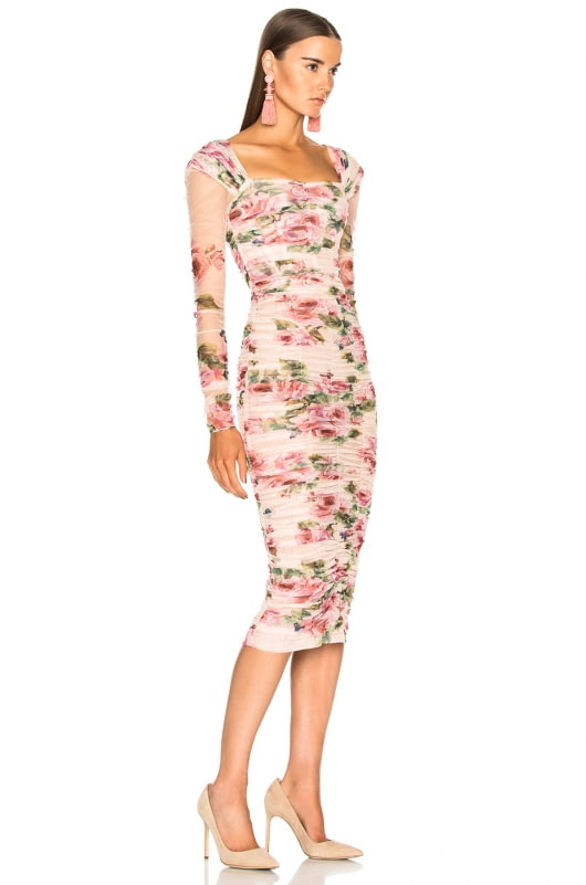 Dolce & Gabbana Floral Tulle Long Sleeve Midi Dress