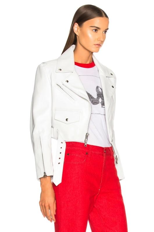 CALVIN KLEIN 205W39NYC Shiny Plonge Leather Cropped Jacket
