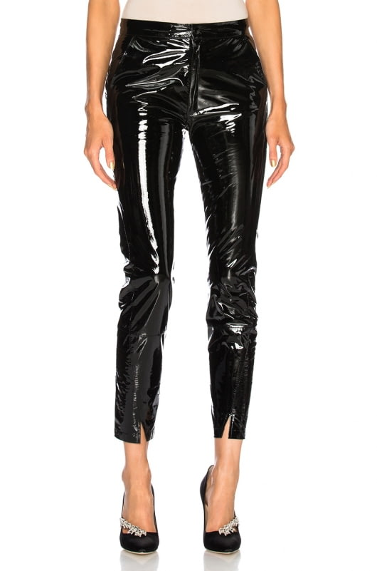 Zeynep Arcay Patent Leather Pants with Ankle Slits