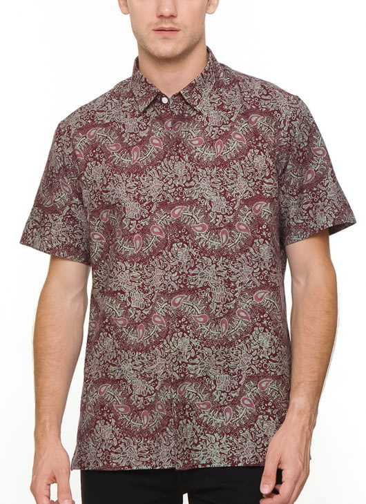The Cufflinks Store Maroon Short Sleeve Batik Shirt
