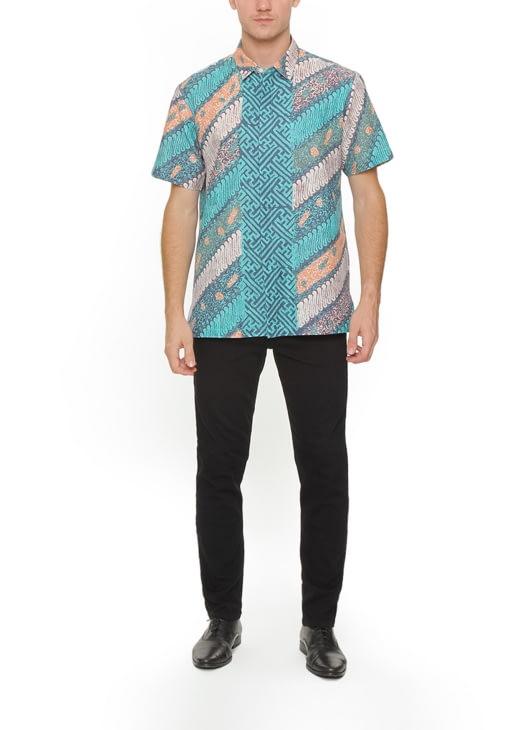 The Cufflinks Store Turquoise Short Sleeve Batik Shirt