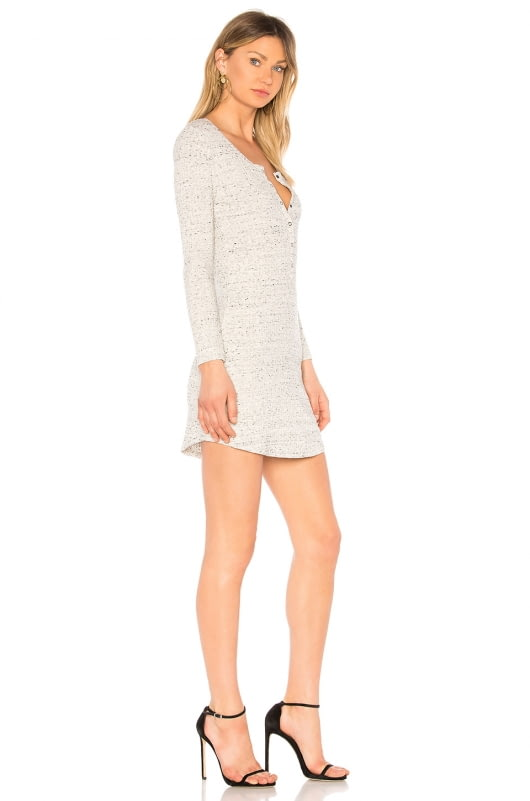 David Lerner Long Sleeve Henley T Shirt Dress