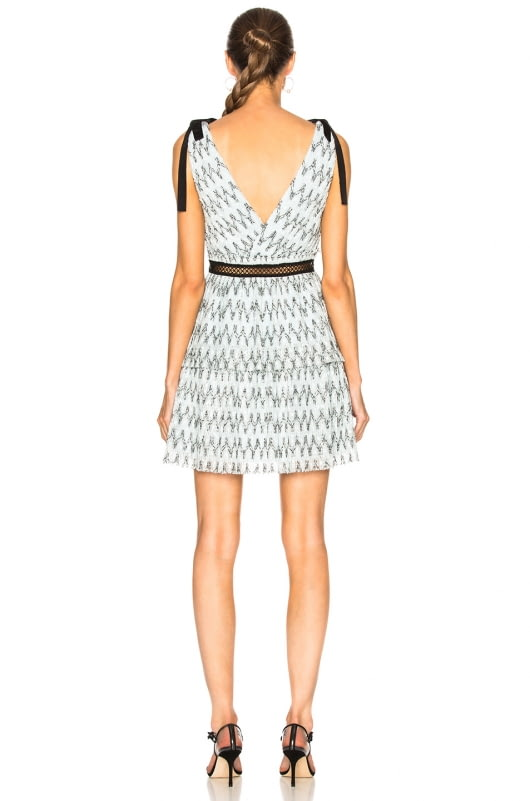 self-portrait Metallic Mesh Mini Dress
