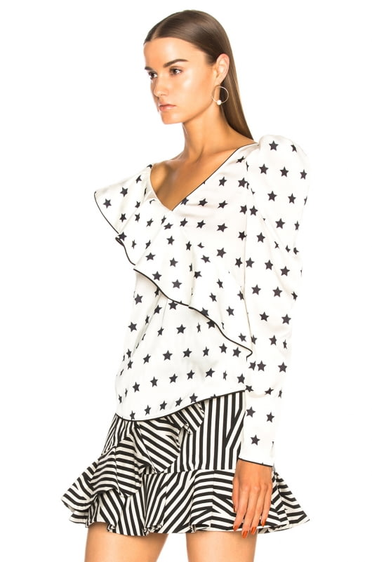 self-portrait Printed Star Frilled Top