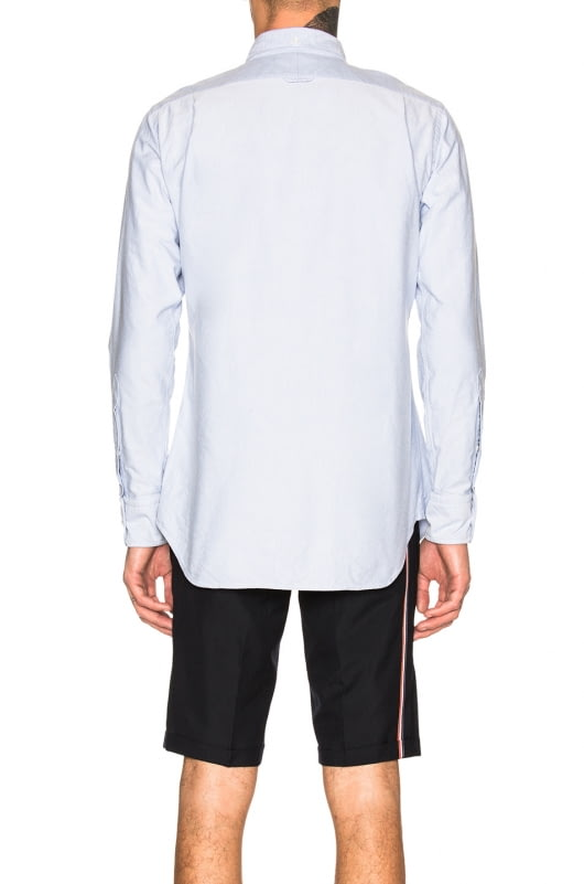 Thom Browne Zip Front Classic Long Sleeve Point Collar Shirt