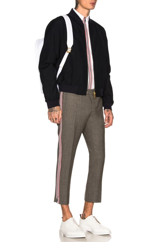 Thom Browne Side Zip Low Rise Skinny Trousers