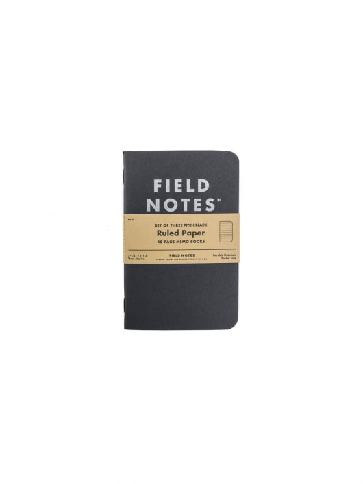 Field Notes Field Notes Pitch Black Memo Book 3 Packs Ruled Paper