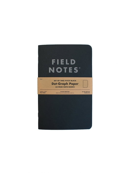 Field Notes Field Notes Pitch Black Note Book 2 Packs Dot Graph Paper