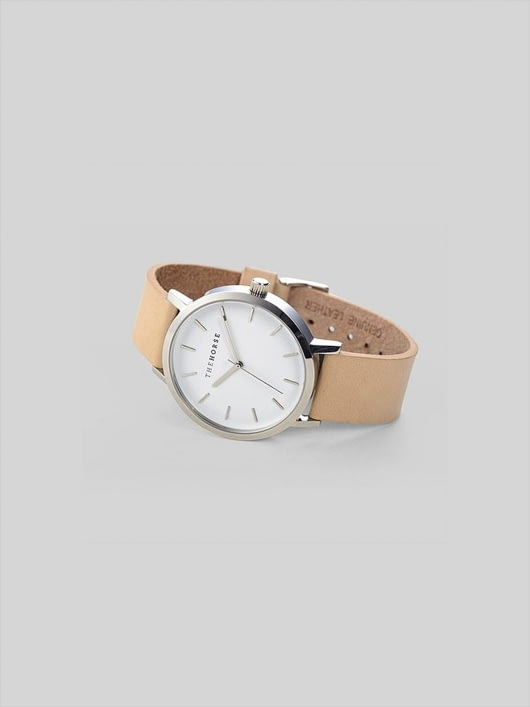 The Horse The Horse Polished Steel / White Face / Vegetable Tan Watch