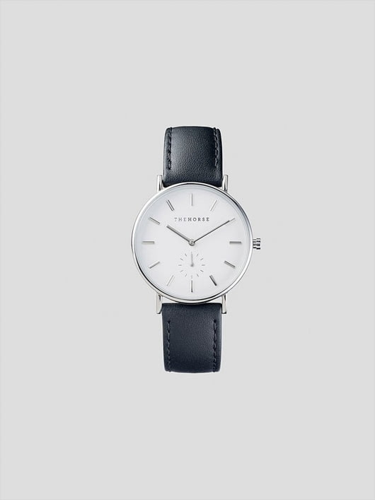 The Horse The Horse Classic Silver Black Leather Watch