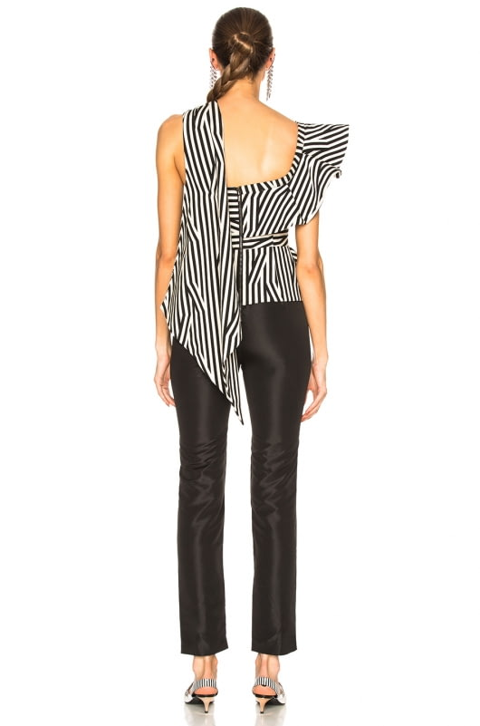 self-portrait Asymmetric Stripe Ruffle Jumpsuit