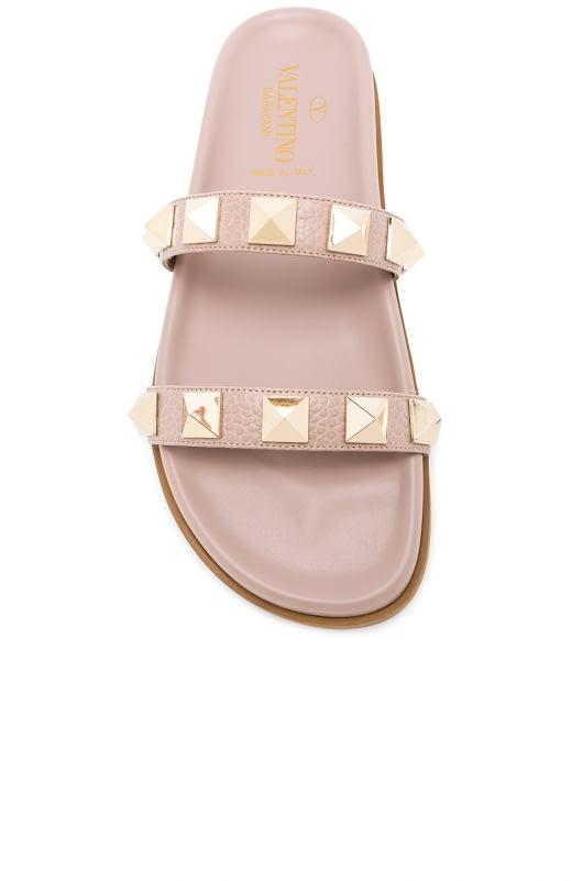 Valentino Leather Rockstud Lock Slides