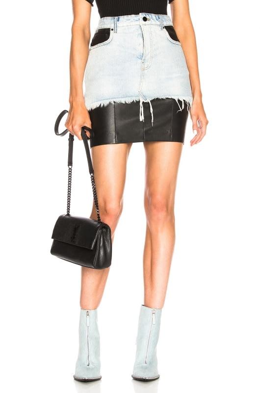 Alexander Wang Leather and Denim Hybridmoto Skirt