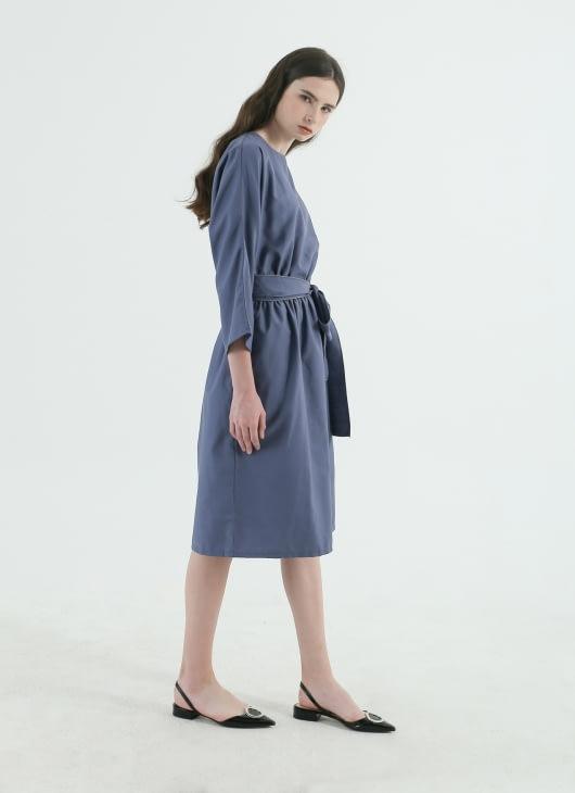 CORE ATTIRE Blue Oxford Roll Dress