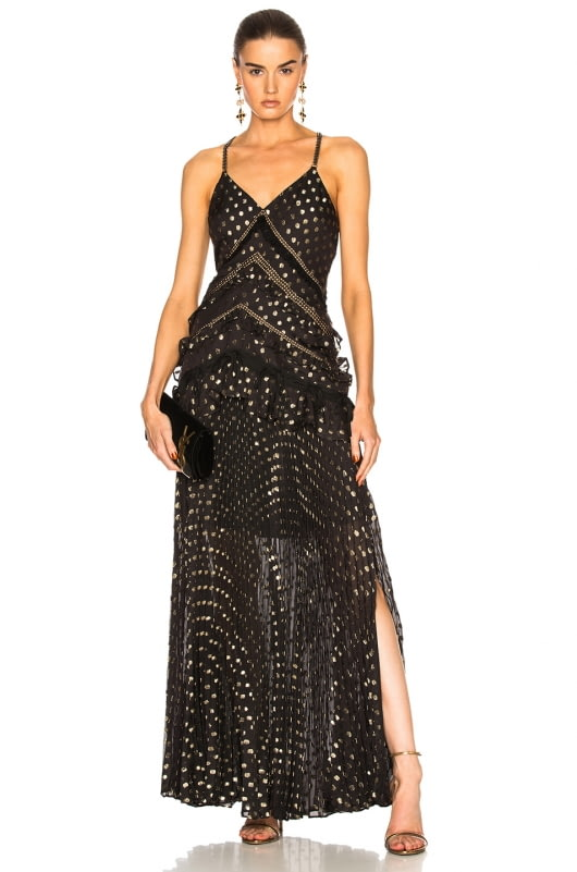 self-portrait Metallic Polka Dot Maxi Dress