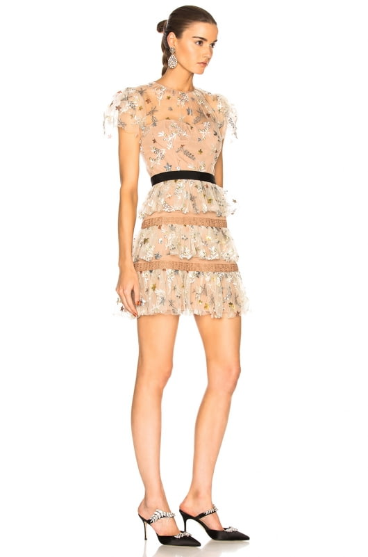self-portrait Star Mesh Tiered Dress