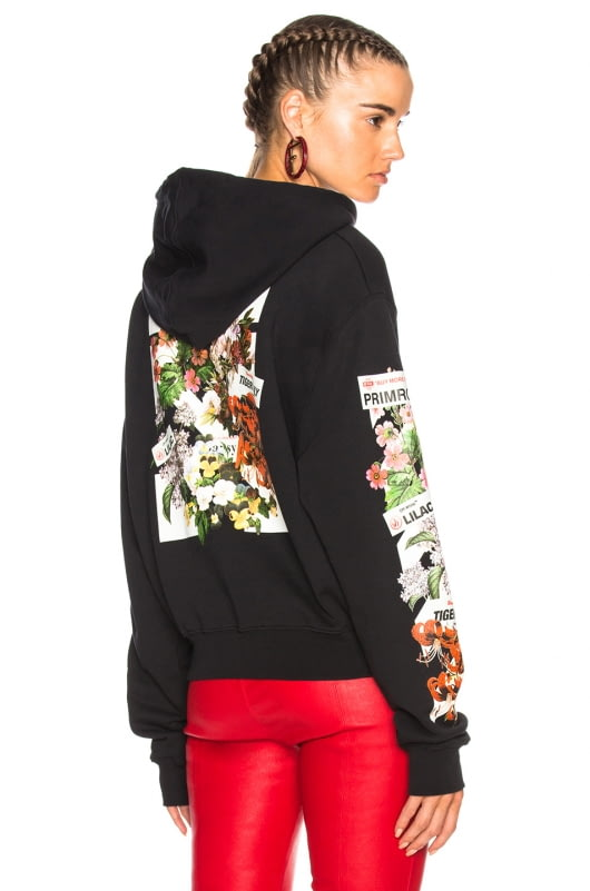 OFF-WHITE Diagonal Flower Shop Crop Hoodie