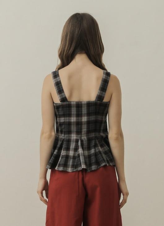 NANNA Checkered Godet Sleeveless Top