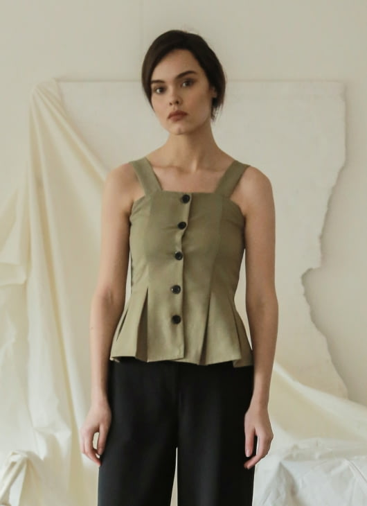 Commonwear Olive Yone Pleated Top