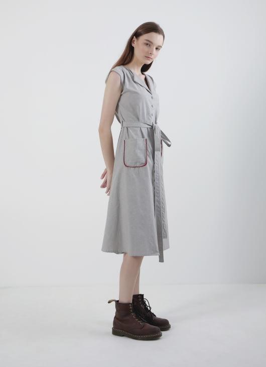 Calla The Label Dusty Gray Button Dress