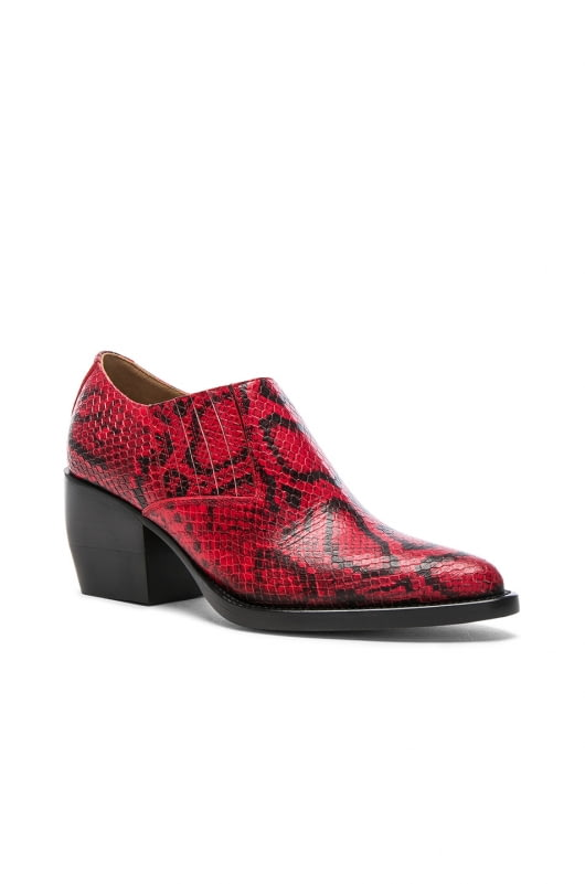 Chloe Rylee Python Print Leather Ankle Boots