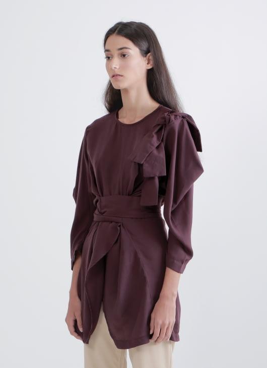 Henrixa Wine Kimono Blouse