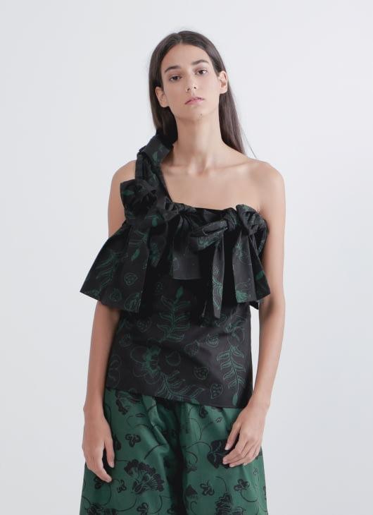 Amanda Hartanto Batik Green & Black Aliqa Top