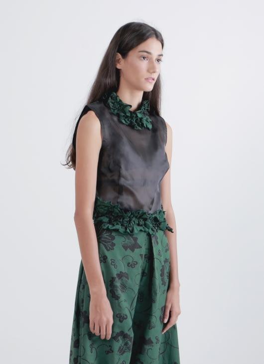 Amanda Hartanto Batik Green & Black Nousha Top