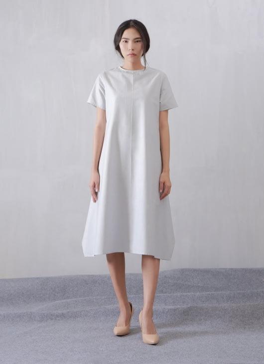 Wastu White Stripe Short Sleeve Apron Dress