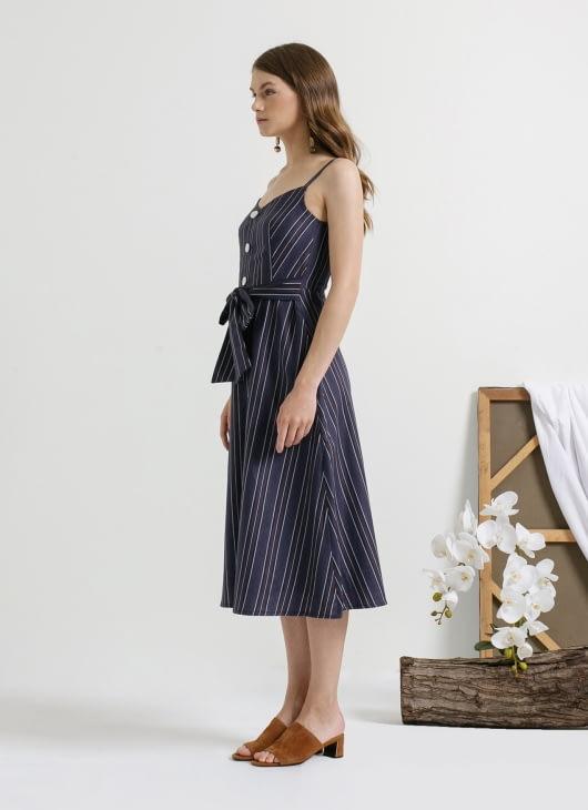 CLOTH INC Blue Stripe Bay Tied Waist Dress