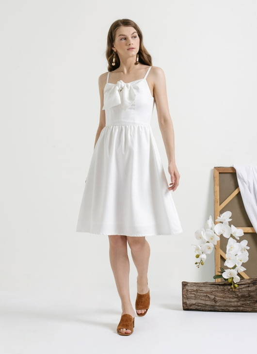 CLOTH INC White Tied Bow Linen Dress