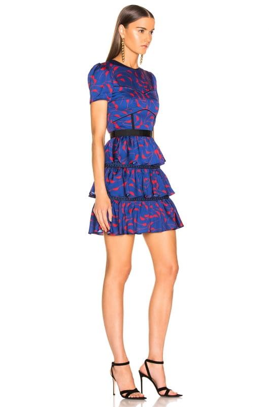 self-portrait Tiered Printed Mini Dress