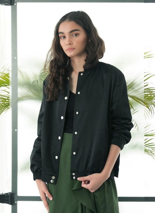 Eesome Black Palm Bomber Jacket