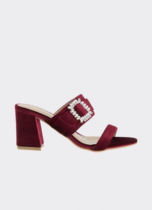 Winston Smith Maroon Renata Block Heels Sandals