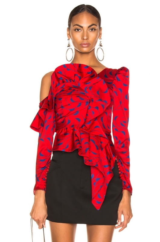 self-portrait Printed Red Frill Top