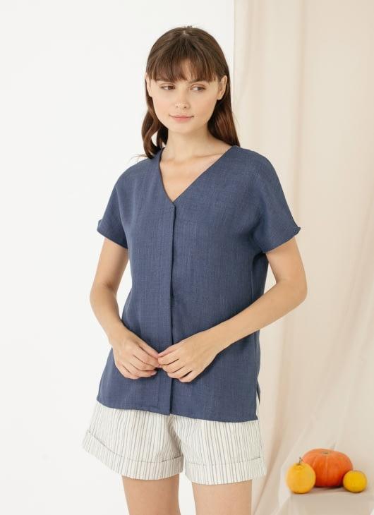CLOTH INC Cava Linen Top - Navy