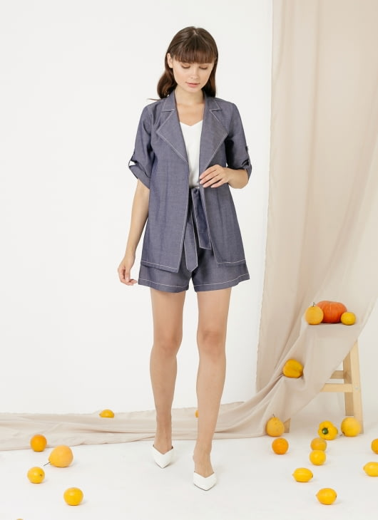 CLOTH INC Louise Shorts - Chambray Blue
