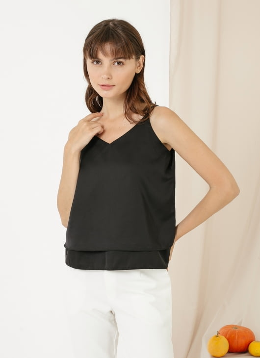 CLOTH INC Basic Double Layered Tank - Black