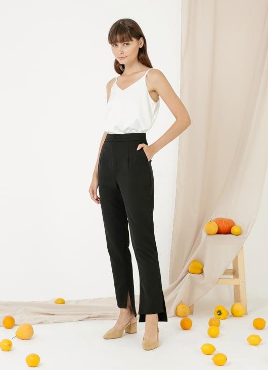 CLOTH INC Picolo Slit Pants - Black