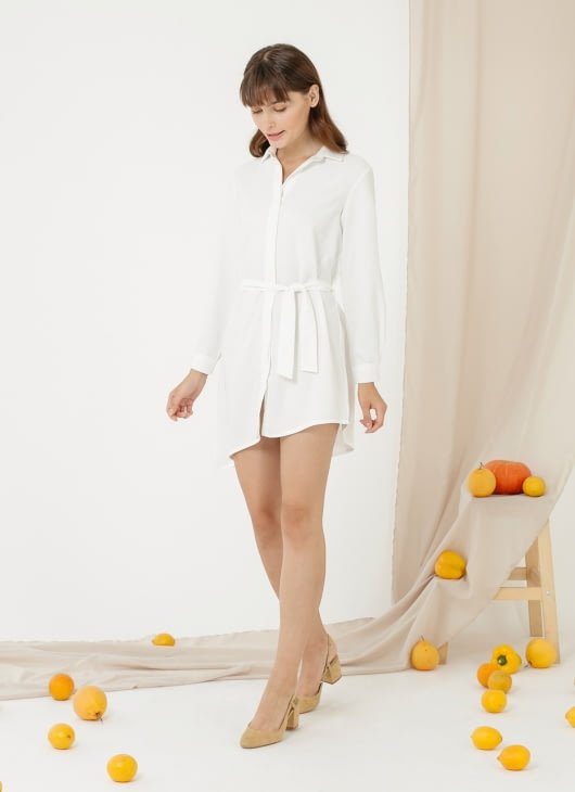 CLOTH INC Asymmteric Tied Shirt Dress - White